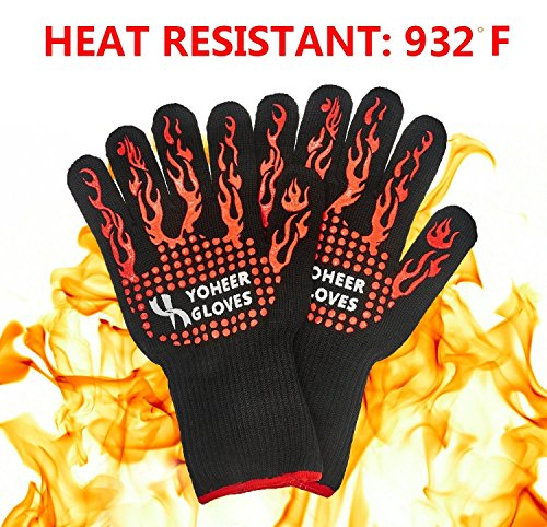Yoheer 932F Extra-long Cut & Heat Resistant Oven Mitts with 100% Cotton Lining Good for Oven,Outdoor...
