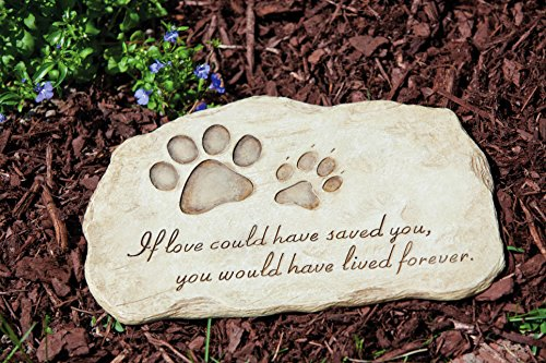 "Evergreen Garden Pet Paw Print Devotion Painted Polystone Stepping Stone - 12""W x 0.5""D x..."