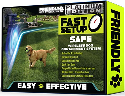 Friendly Pet Products Wireless Dog Fence, Outdoor Pet Fence w/Radio & In-Ground Cord Electric WiFi...