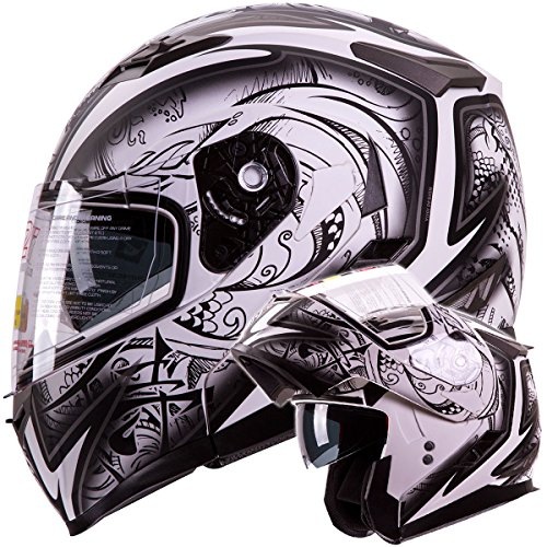 IV2 Helmets 'DEMON SAMURAI' Dual Visor Modular Flip up Motorcycle Snowmobile Helmet DOT (L)