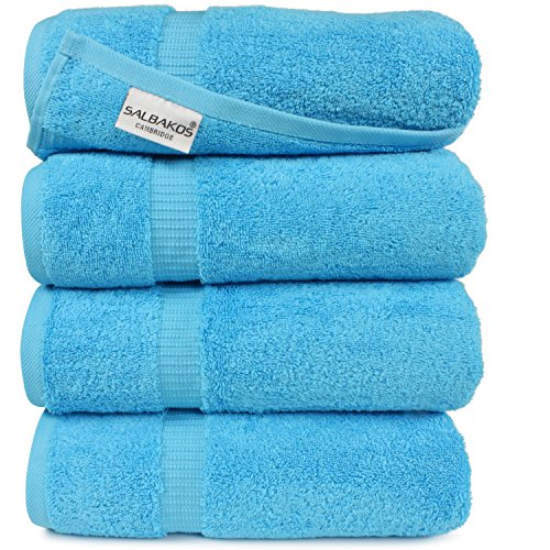 SALBAKOS Organic Turkish Cotton Hotel Bath Towel, 700 GSM, 27 by 54 Inch, Pack of 4, White