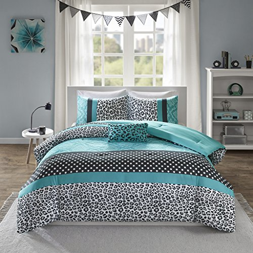 Mi-Zone Chloe Comforter Set Full/Queen Size - Teal, Polka Dots, Damask, Leopard – 4 Piece Bed Sets...
