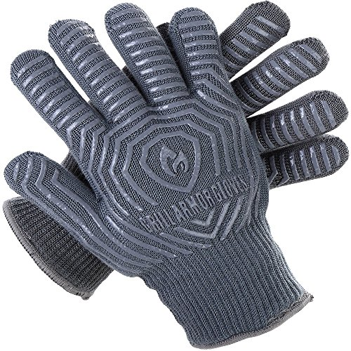 Grill Armor Extreme Heat Resistant Oven Gloves - EN407 Certified 932F - Cooking Gloves for BBQ,...