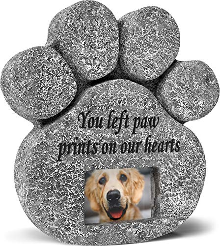 'You Left Paw Prints On Our Hearts' Paw Print Pet Memorial Stone, Grave Marker with Customizable...