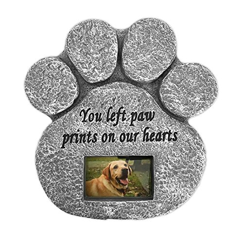 Barnyard Designs 'You Left Paw Prints On Our Hearts' Paw Print Pet Memorial Stone with Customizable...