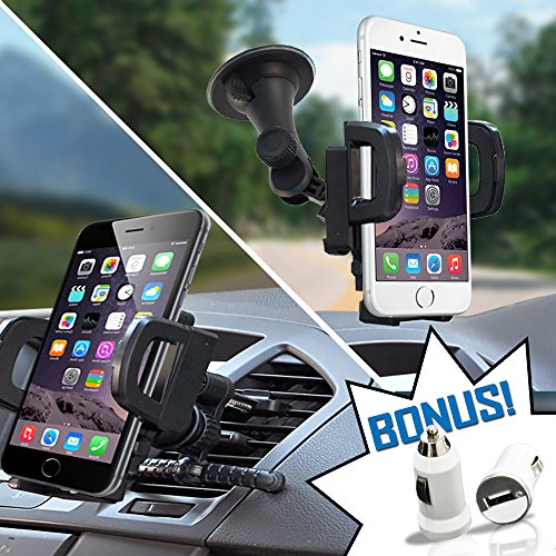 TidalTek Cell Phone Car Mount + USB Charger Adapter. Air Vent/Windshield 2-in-1 Smartphone/GPS...