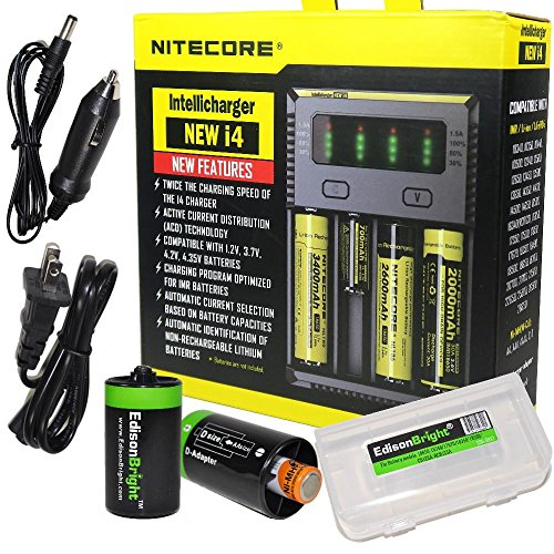 NITECORE New i4 battery Charger For Li-ion / IMR / Ni-MH/ Ni-Cd 18650 18350 16340 RCR123 14500 AA...