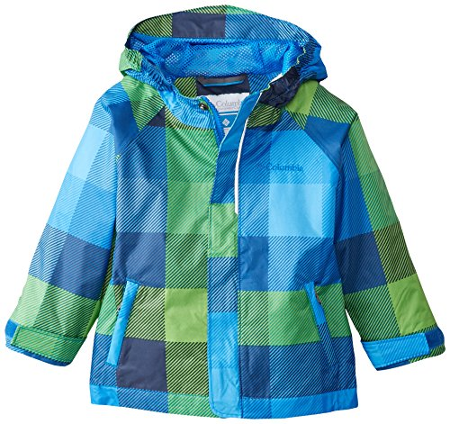Columbia Toddler Boys' Fast and Curious Rain Jacket, Hyper Blue Plaid, 4T