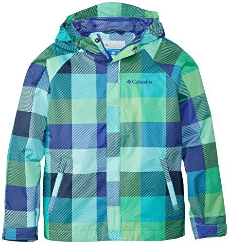 Columbia Big Girls' Girls Fast and Curious Rain Jacket, Light Grape Plaid, Medium
