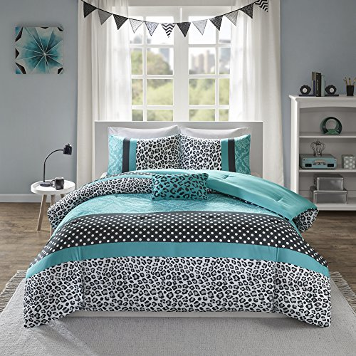 Mi Zone Chloe Comforter Set Full/Queen Size - Teal , Polka Dots, Damask, Leopard – 4 Piece Bed...
