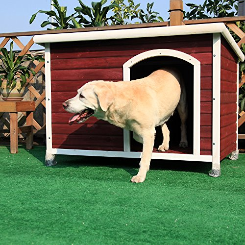 Petsfit Solid Wood Outdoor Dog House for Large Dogsup to 80 lb, 1-Year Warranty