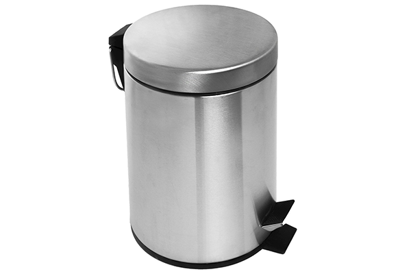 Estilo Round Brushed Stainless Steel Step Trash Can