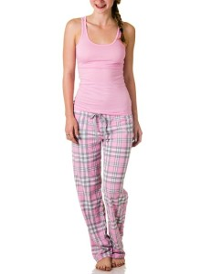 Sleep & Co. Pink Plaid Pant and Polka Dot Tank Top Pajama Set