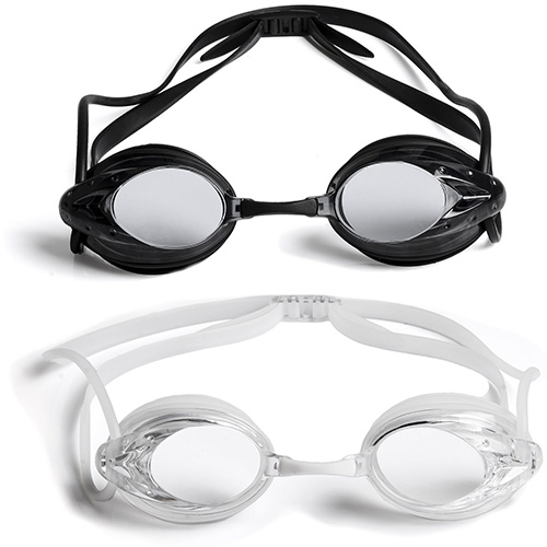 The Friendly Swede Swim Goggles (2 Pack), Black and Clear