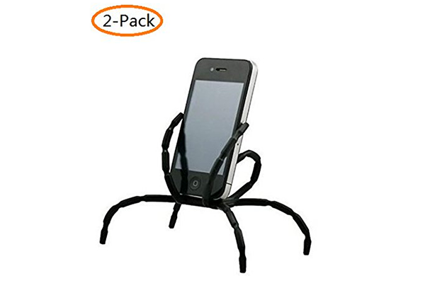 A-Smile@ Spider Phone Holder,Universal Multi-Function Portable Spider Flexible Grip Holder,Cell Phone All Smartphones Holder Mount and Stand for Car Bike Bicycle Desk, (Black, 2-Pack)