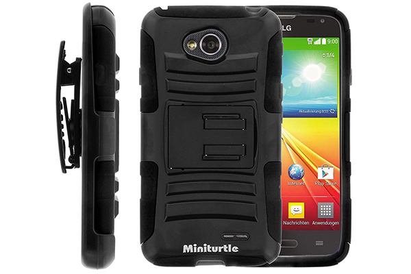 MINITURTLE, High Impact Rugged Hybrid Dual Layer Protective Phone Armor Case Cover with Built in Kickstand