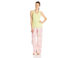 Hanes Women's Ladies Tank with Woven Sleep Pant Pajama Set