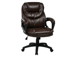 WorkSmart Faux Leather Manager's Chair With Padded Arms, Chocolate