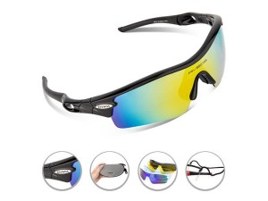 cycling goggles rq0o  RIVBOS庐 805 POLARIZED Sports Sunglasses Glasses with 5 Set Interchangeable  Lenses for Cycling