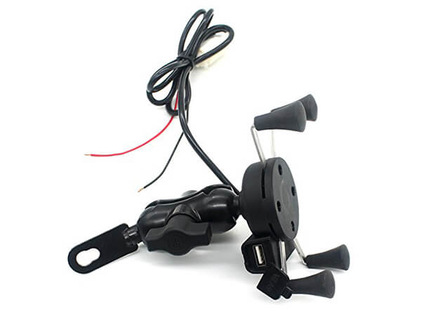TurnRaise Motorcycle Stand Holder 12V USB Charger Power Outlet Socket for iPhone 6/6 With GPS
