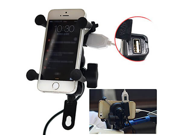 Floureon Universal Motorcycle Mount Cell Phone Holder USB Charger