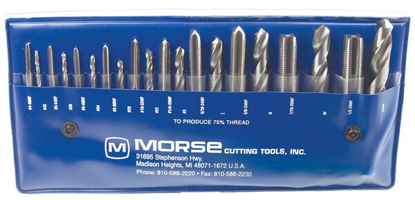 Morse Cutting Tools 37104 Tap and Drill Set, NF Series, High Speed Steel, #104 Number