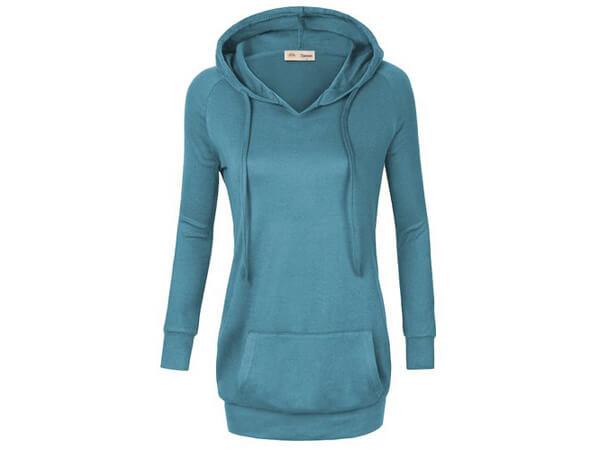 Timeson Women's Long Sleeve Knitted Panel Hooded Casual Sweatshirt