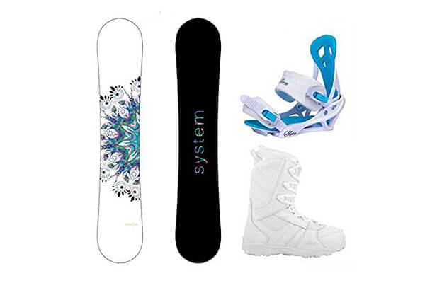 System 2016 Flite Snowboard w/Mystic Bindings and Lux Boots Women's Complete Snowboard Package