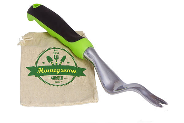 Hand Weeder with Ergonomic Handle from Homegrown Garden Tools; Weeding Tool Best for Lawn & Garden, Includes Burlap Tote Sack