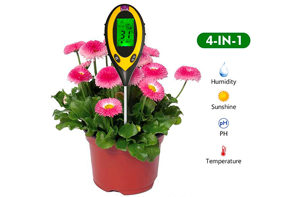 Soil Meter Pathonor Portable 4-in-1 Soil Tester Kit Moisture PH/Acidity Sunlight Temperature with LCD Screen for Garden Farm Lawn Plant Flower