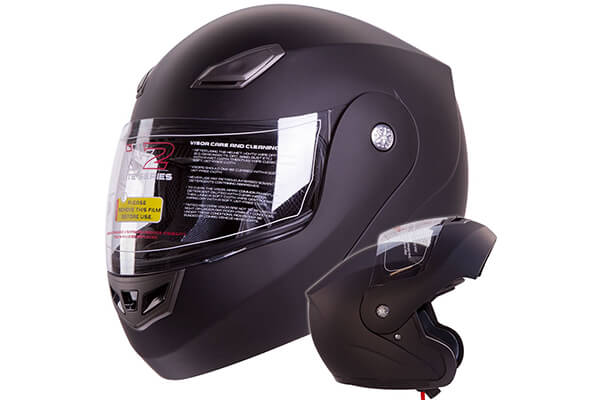 Modular Flip-up Motorcycle Helmet Matte Flat Black DOT #936