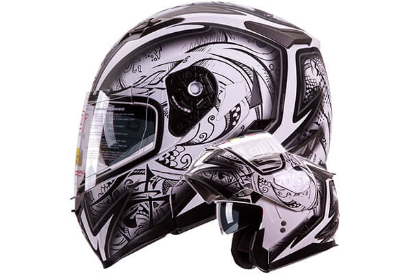 "IV2 Helmets ""DEMON SAMURAI"" Dual Visor Modular Flip up Motorcycle Snowmobile Helmet DOT"