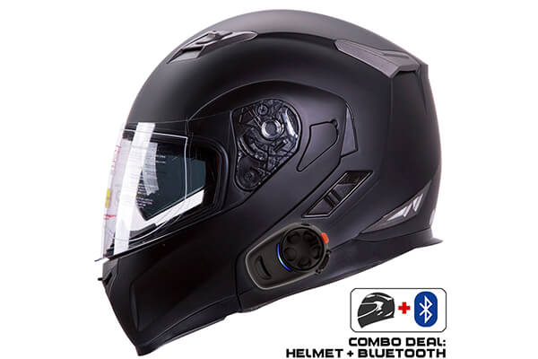 IV2 Helmet + Bluetooth Combo: Model 953 Dual Visor, High Performance Motorcycle Helmet