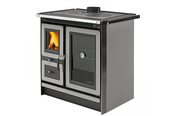 "Wood Cook Stove La Nordica ""Italy Silver,"" Wood Burning Cooking Stove"