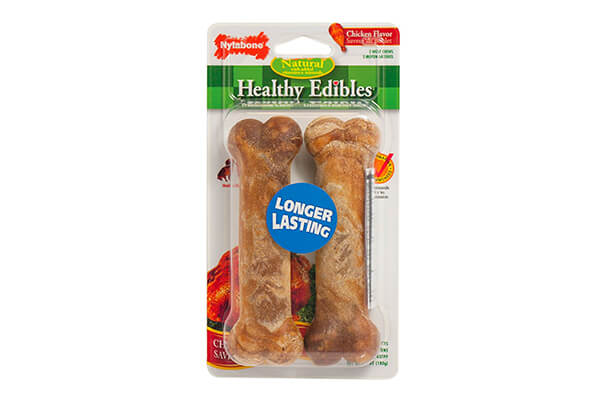 Nylabone Healthy Edibles Wolf Chicken Flavored Twin Pack Dog Treat Bone