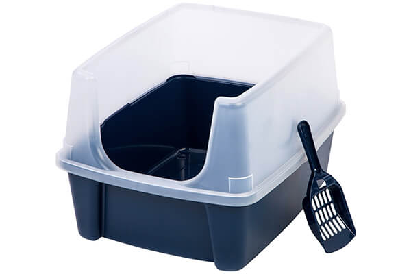 IRIS Open Top Cat Litter Box Kit with Shield and Scoop