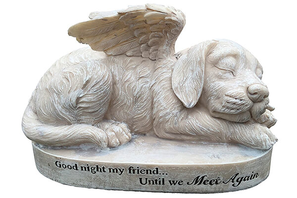 Dog Angel Memorial Marker – Sleeping Angel Devotional Remembrance Marker (Stone)