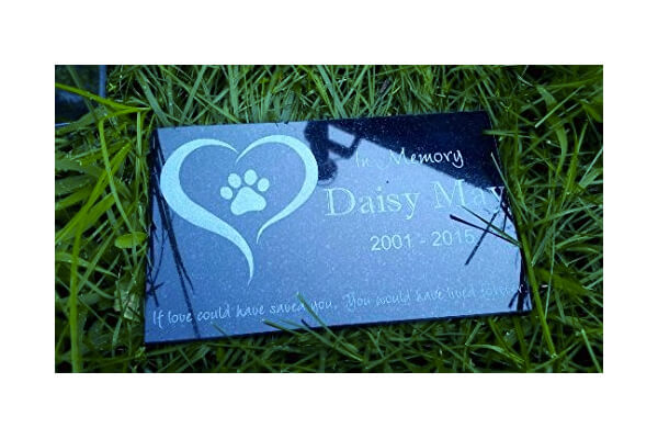 "Personalized Pet Stone Memorial Marker Granite Marker Dog Cat Horse Bird Human 6"" X 10"""