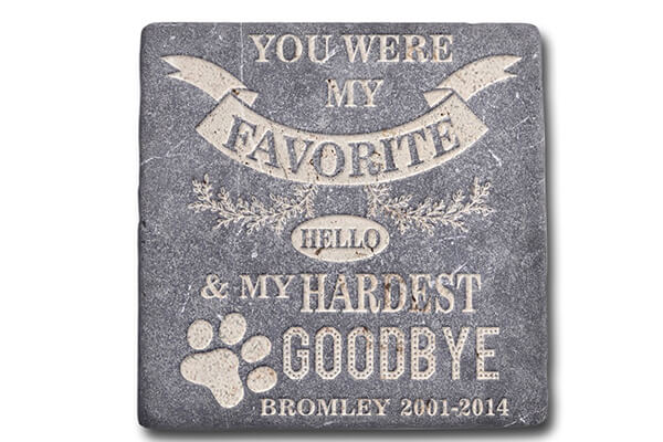 Personalized Memorial Pet Headstone Customized - Favorite Helo Hardest Goodbye - 6 x 6 Marble
