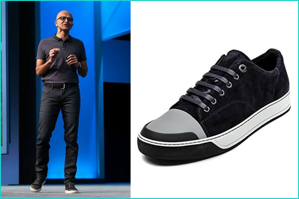 Satya Nadella: Lanvin Suede & Patent Leather Low-Top Sneaker