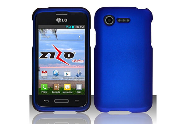 LG Optimus Fuel L34C Blue Rubberized Plastic Cover Snap On Hard Armor Gel Case