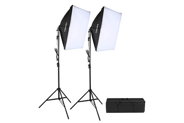 """CRAPHY 700W 5500K Photography Studio Soft Box Lighting Kit Continuous Light Equipment for Portrait Video Shooting (20x28"""" Softbox + 80"""" Tall Light Stand + Carrying Bag"""
