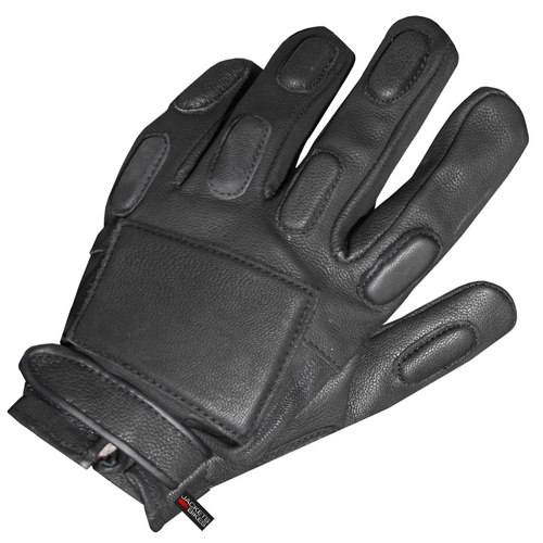 Police Biker Short Motorcycle Leather Gloves Black XL