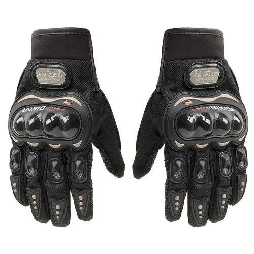 Carbon Fiber Pro-Biker Bicycle Motorcycle Motorbike Powersports Racing Gloves (L, Black)