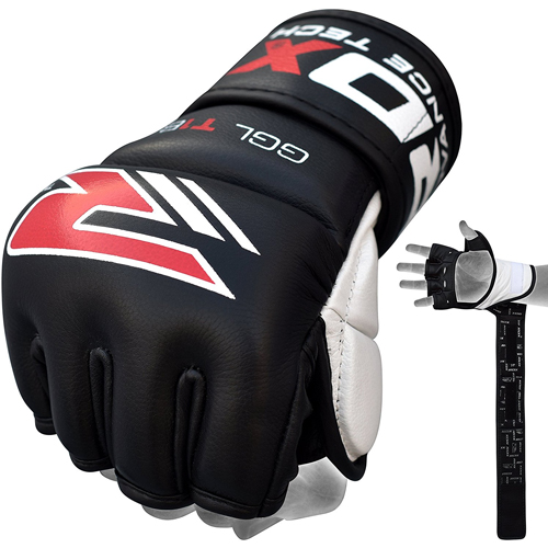 MMA 7oz Grappling Authentic RDX Cow Hide Leather Gel Tech Gloves