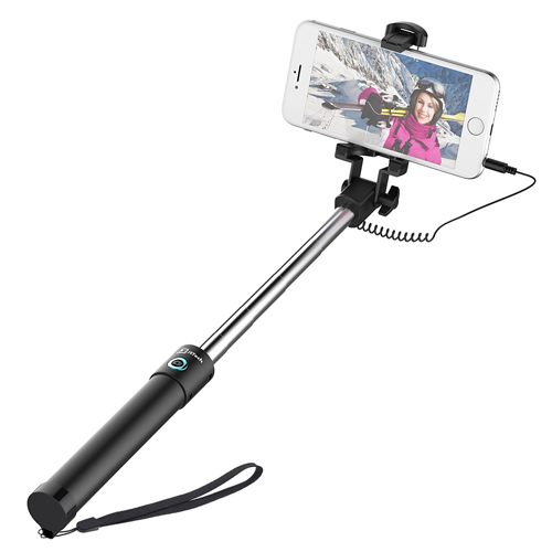 Selfie Stick, JETech One-piece U-Shape [Battery Free] Extendable Wired Cable Control Self-portrait Monopod Pole with Mount Holder for Apple&Android Devices and More
