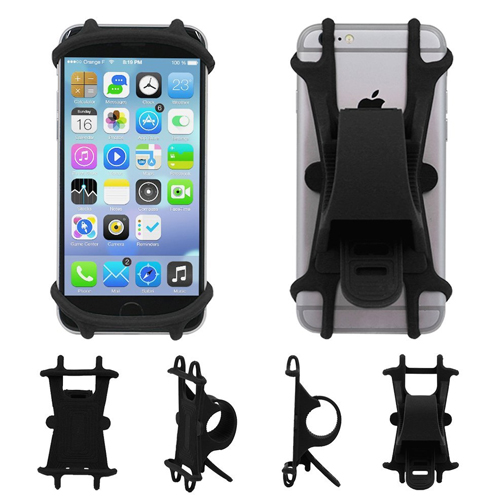 "AxPower Bike Cell Phone Mount Motorcycle Handlebar Cellphone Holder Bicycle Silicone Cradle Clamp for iPhone 7 Samsung Galaxy S7 Universal Smartphone 4"" - 5.5"""