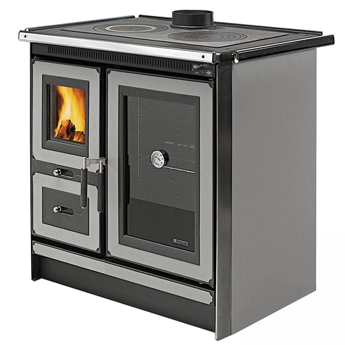 """Wood Cook Stove La Nordica """"Italy Silver,"""" Wood Burning Cooking Stove"""