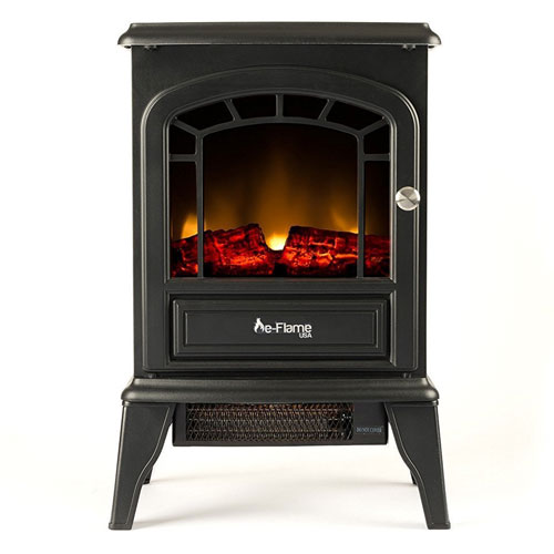 Aspen Free Standing Electric Fireplace Stove - 23 Inch Black Portable Electric Vintage Fireplace
