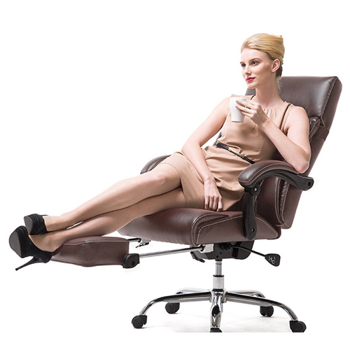 VIVA OFFICE Reclining Office Chair, Brown High Back Chair, Bonded Leather Chair With Footrest –Viva 08501-Brown